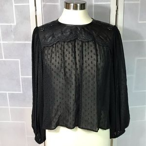 💥 Zara Woman sheer black faux leather blouse M